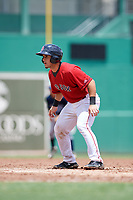 GCL Red Sox catcher Elih Marrero (50) leads off first base during a game against the GCL Rays on August 1, 2018 at JetBlue Park in Fort Myers, Florida.  GCL Red Sox defeated GCL Rays 5-1 in a rain shortened game.  (Mike Janes/Four Seam Images)