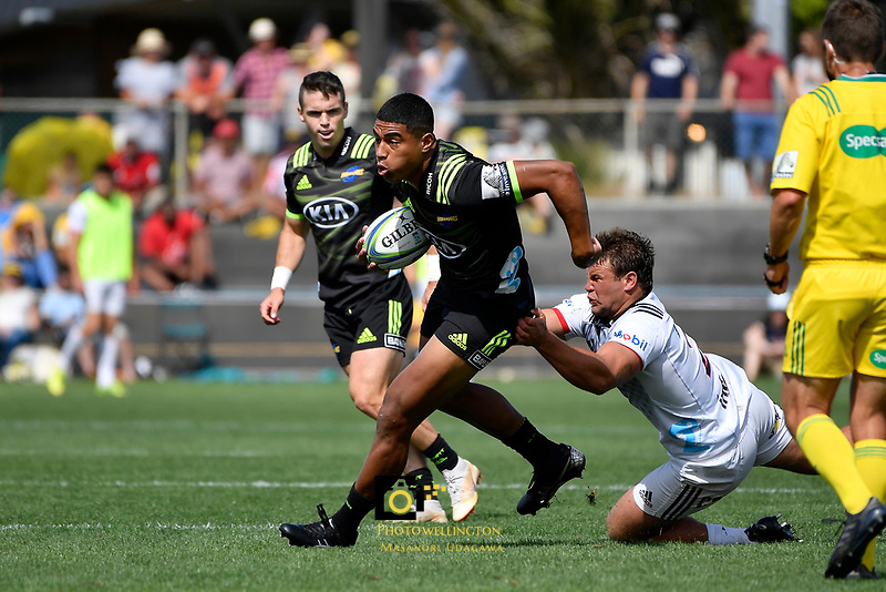 Hurricanes' Salesi Rayasi in action during the Super Rugby Preseason - Hurricanes v Crusaders at Levin Domain, Levin, New Zealand on Saturday 2 February 2019. <br /> Photo by Masanori Udagawa. <br /> www.photowellington.photoshelter.com