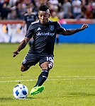 Real Salt Lake forward Joao Plata (10) scores against the Colorado Rapids in the second half Saturday, April 21, 2018, during the Major League Soccer game at Rio Tiinto Stadium in Sandy, Utah. RSL beat the Colorado Rapids 3-0. (© 2018 Douglas C. Pizac)