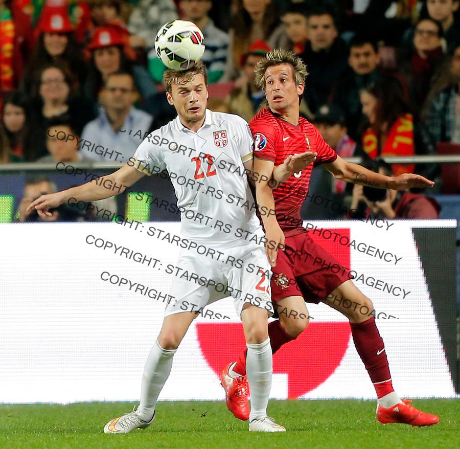 Adem Ljajic Fabio Coentrao Uefa EURO 2016 qualifying football match between Portugal and Serbia in Lisboa, Portugal on March 29. 2015.  (credit image & photo: Pedja Milosavljevic / STARSPORT)