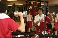 12 October 2005: Cissy Pierce working out in the weight room in Maples Pavilion in Stanford, CA.