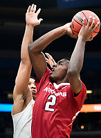 NWA Democrat-Gazette/CHARLIE KAIJO Arkansas Razorbacks forward Adrio Bailey (2) looks to shoot as Tennessee Volunteers forward Grant Williams (2) covers during the Southeastern Conference Men's Basketball Tournament semifinals, Saturday, March 10, 2018 at Scottrade Center in St. Louis, Mo. The Tennessee Volunteers knocked off the Arkansas Razorbacks 84-66