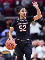College Park, MD - NOV 13, 2017: South Carolina Gamecocks guard Tyasha Harris (52) directs the offense during game between No. 4 ranked South Carolina and the No. 15 Maryland Terrapins at the XFINITY Center in College Park, MD. The Gamecocks defeated Maryland 94-86.  (Photo by Phil Peters/Media Images International)