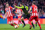 Bryan Ruiz of Sporting CP (C) fights for the ball with Saul Niguez Esclapez of Atletico de Madrid (L) and Gabriel Fernandez Arenas, Gabi, of Atletico de Madrid (R) during the UEFA Europa League quarter final leg one match between Atletico Madrid and Sporting CP at Wanda Metropolitano on April 5, 2018 in Madrid, Spain. Photo by Diego Souto / Power Sport Images