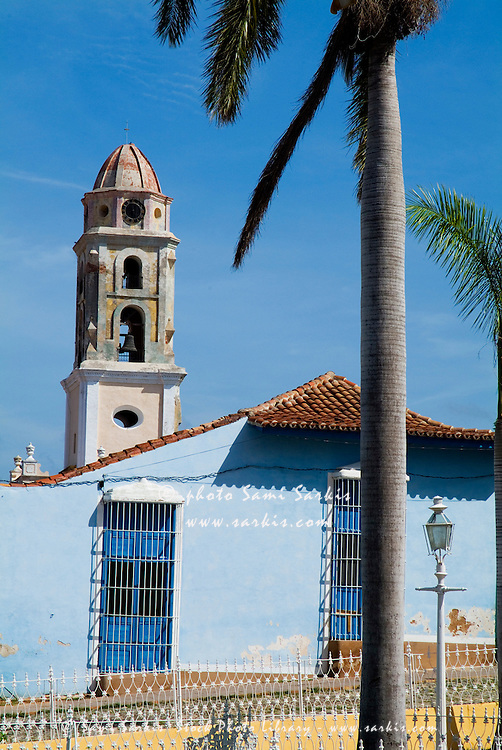 Plaza Mayor and the bell tower of the Convent of San Francisco, Trinidad, Sancti Spiritus, Cuba.