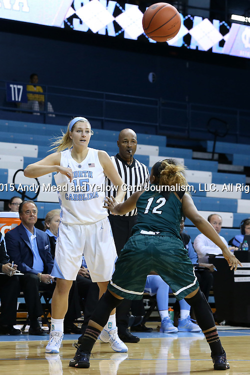 09 November 2015: North Carolina's Marissa Riley (15) throws the ball over Mount Olive's Shylia Buie (12). The University of North Carolina Tar Heels hosted the University of Mount Olive Trojans at Carmichael Arena in Chapel Hill, North Carolina in a 2015-16 NCAA Women's Basketball exhibition game. UNC won the game 99-45.