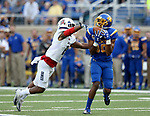 BROOKINGS, SD - AUGUST 31: Adam Anderson #80 from South Dakota State University hauls in a pass in front of Abner Roberts #11 from Duquesne in the first half of their game Thursday night at Dana J. Dykhouse Stadium in Brookings. (Photo by Dave Eggen/Inertia)