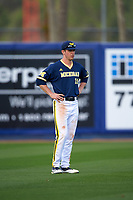 Michigan Wolverines left fielder Matt Ramsay (19) during the second game of a doubleheader against the Canisius College Golden Griffins on February 20, 2016 at Tradition Field in St. Lucie, Florida.  Michigan defeated Canisius 3-0.  (Mike Janes/Four Seam Images)
