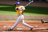 LSU Tigers third baseman Tyler Hanover #11 swings during the NCAA baseball game against the Mississippi State Bulldogs on March 18, 2012 at Alex Box Stadium in Baton Rouge, Louisiana. LSU defeated Mississippi State 4-2. (Andrew Woolley / Four Seam Images).