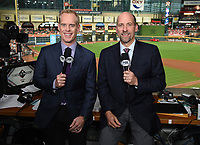 HOUSTON - OCTOBER 23: Joe Buck and John Smoltz in the broadcast booth at World Series Game 2: Washington Nationals at Houston Astros on Fox Sports at Minute Maid Park on October 23, 2019 in Houston, Texas. (Photo by Frank Micelotta/Fox Sports/PictureGroup)