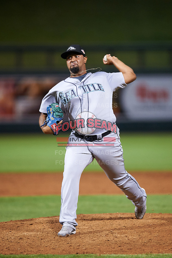 Peoria Javelinas pitcher Luiz Gohara (71), of the Seattle Mariners organization, during a game against the Salt River Rafters on October 11, 2016 at Salt River Fields at Talking Stick in Scottsdale, Arizona.  The game ended in a 7-7 tie after eleven innings.  (Mike Janes/Four Seam Images)