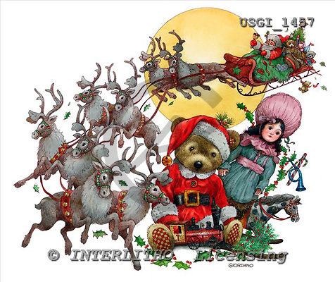 GIORDANO, CHRISTMAS ANIMALS, WEIHNACHTEN TIERE, NAVIDAD ANIMALES, Teddies, paintings+++++,USGI1457,#XA#