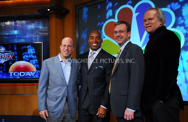 WWW.ACEPIXS.COM . . . . . ....February 13, 2007, New York City. ....Tiki Barber, here with CEO NBC Universal Jeff Zucker, Dick Ebersol and Steve Capus, holds Press Conference to be named Correspondent for NBC News 'Today Show'. ....Please byline: KRISTIN CALLAHAN - ACEPIXS.COM.. . . . . . ..Ace Pictures, Inc:  ..(212) 243-8787 or (646) 769 0430..e-mail: info@acepixs.com..web: http://www.acepixs.com