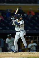 Jack Lopez (1) of the Gwinnett Braves at bat against the Durham Bulls at Durham Bulls Athletic Park on April 20, 2019 in Durham, North Carolina. The Bulls defeated the Braves 3-2 in game two of a double-header. (Brian Westerholt/Four Seam Images)