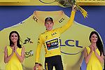 Mike Theunison (BEL) retains the leaders Yellow Jersey after his Team Jumbo-Visma win Stage 2 of the 2019 Tour de France a Team Time Trial running 27.6km from Bruxelles Palais Royal to Brussel Atomium, Belgium. 7th July 2019.<br /> Picture: Colin Flockton | Cyclefile<br /> All photos usage must carry mandatory copyright credit (© Cyclefile | Colin Flockton)