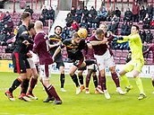 17th March 2018, Tynecastle Park, Edinburgh, Scotland; Scottish Premier League football, Heart of Midlothian versus Partick Thistle;  Daniel Devine of Partick Thistle header towards goal