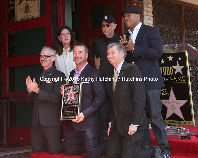 LOS ANGELES - MAR 5:  Chamber Official, Mitch O'Farrell, Paul Brinkman, LL Cool J, Chris O'Donnell, Leron Gubler at the Chris O'Donnell Hollywood Walk of Fame Star Ceremony at the Hollywood Blvd on March 5, 2015 in Los Angeles, CA