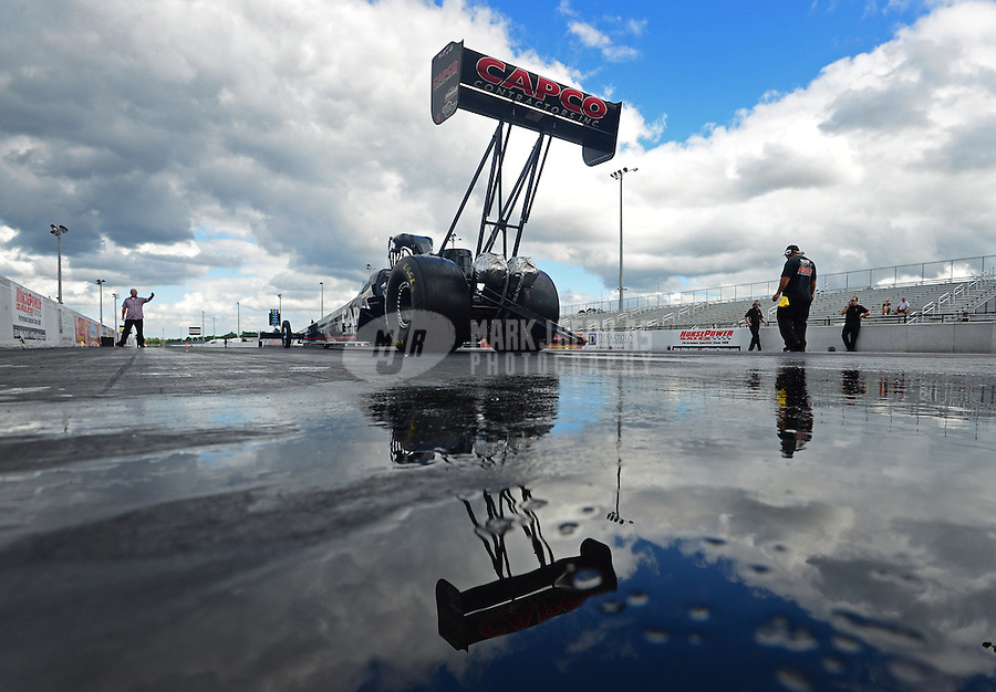 Jan. 16, 2013; Jupiter, FL, USA: NHRA top fuel dragster driver Steve Torrence during testing at the PRO Winter Warmup at Palm Beach International Raceway.  Mandatory Credit: Mark J. Rebilas-