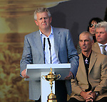 Colin Montgomerie, European Captain, speaks during the closing ceremony of the 2010 Ryder Cup at the Twenty Ten Course, Celtic Manor Resort, Newport, Wales, 4th October 2010..(Picture Eoin Clarke/www.golffile.ie)