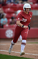 NWA Democrat-Gazette/ANDY SHUPE<br /> Arkansas' Linnie Malkin heads to first after hitting a 2-run double against Wichita State Wednesday, April 10, 2019, during the sixth inning at Bogle Park in Fayetteville. Visit nwadg.com/photos to see more photographs from the game.