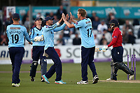 Steven Patterson of Yorkshire celebrates taking the wicket of Adam Wheater during Essex Eagles vs Yorkshire Vikings, Royal London One-Day Cup Play-Off Cricket at The Cloudfm County Ground on 14th June 2018