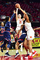 College Park, MD - NOV 21, 2017: Maryland Terrapins guard Sarah Myers (21) shoots a jump shot over two Howard Bison defenders during game between the Howard Lady Bison and the Maryland Terrapins at the XFINITY Center in College Park, MD.  (Photo by Phil Peters/Media Images International)