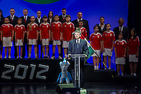 Laszlo Kover (front center) president of Hungary delivers his speech during a swearing in ceremony of the Hungarian Olympic Team that will travel to London in Budapest, Hungary on June 22, 2012. ATTILA VOLGYI