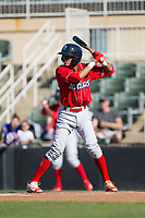 Daniel Brito (21) of the Lakewood BlueClaws at bat against the Kannapolis Intimidators at Kannapolis Intimidators Stadium on April 9, 2017 in Kannapolis, North Carolina.  The BlueClaws defeated the Intimidators 7-1.  (Brian Westerholt/Four Seam Images)