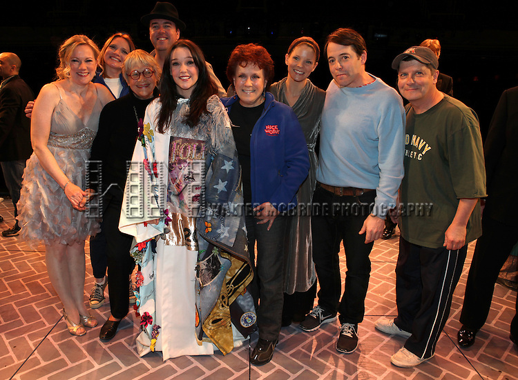 Kathleen Marshall, Jennifer Laura Thompson, Chris Sullivan, Estelle Parsons, Cameron Adams, Judy Kaye, Kelli O'Hara & Matthew Broderick.attending the Broadway Opening Night Performance Gypsy Robe Ceremony for 'Nice Work If You Can Get it' at the Imperial Theatre on 4/24/2012 at the Imperial Theatre in New York City. © Walter McBride/WM Photography / Retna Ltd.