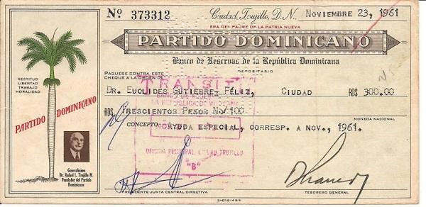 Cheque que se realizo como pago a Euclides Gutierre en la epoca de Trujillo
