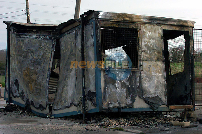 The Burned out Portacabin in the Boyne Business Park.Picture Fran Caffrey Newsfile