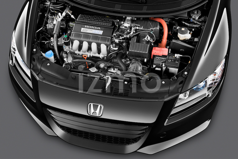High angle engine detail of a 2011 Honda CR-Z EX Nav Hybrid Hatchback.