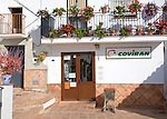 Coviran local supermarket shop in the Andalusian village of Comares, Malaga province, Spain