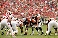 Bengals quarterback Carson Palmer calls signals behind center Rich Braham in the game against the Chiefs at Arrowhead Stadium in Kansas City, Missouri on September 10, 2006. Cincinnati won23-10.