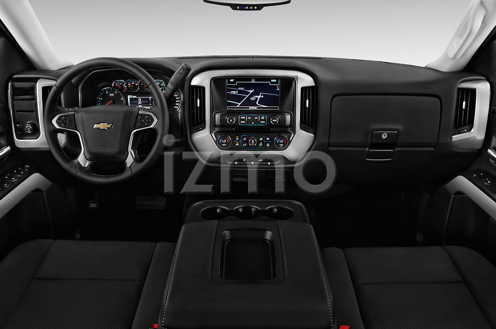 Stock photo of straight dashboard view of 2017 Chevrolet Silverado-1500 LT-Crew 4 Door Pick-up Dashboard