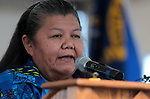 Washoe Tribal Elder Melba Rakow says a prayer at the beginning of the 2012 Lake Tahoe Summit at Edgewood Tahoe in Stateline, Nev., on Monday, Aug. 13, 2012..Photo by Cathleen Allison