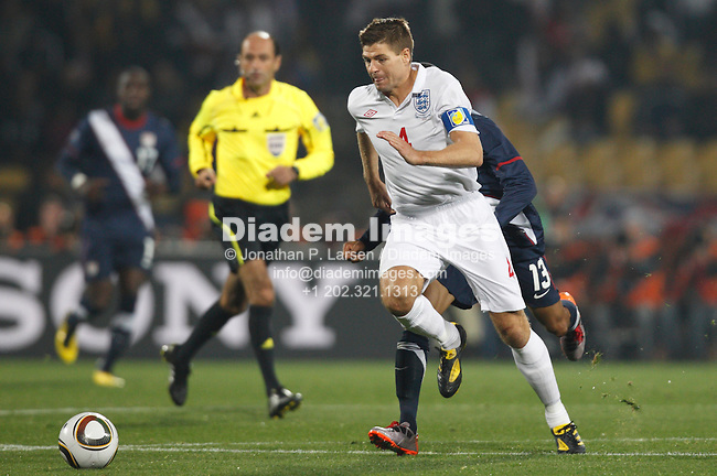 RUSTENBURG, SOUTH AFRICA - JUNE 12:  Steven Gerrard of England controls the ball during a 2010 FIFA World Cup soccer match against the United States June 12, 2010 in Rustenburg, South Africa.  NO mobile use.  Editorial ONLY.  (Photograph by Jonathan P. Larsen)