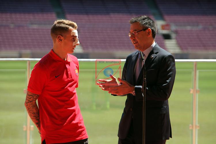 League BBVA 2016/2017.<br /> Lucas Digne presented as new player of FC Barcelona.<br /> Josep M. Bartomeu &amp; Lucas Digne.