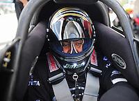 Mar. 30, 2012; Las Vegas, NV, USA: NHRA top fuel dragster driver Khalid Albalooshi during qualifying for the Summitracing.com Nationals at The Strip in Las Vegas. Mandatory Credit: Mark J. Rebilas-US PRESSWIRE