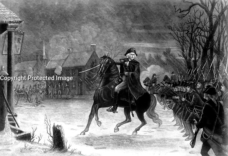 Washington at the Battle of Trenton.  December 1776.  Copy of engraving by Illman Brothers after E. L. Henry, ca. 1870. (George Washington Bicentennial Commission)<br />Exact Date Shot Unknown<br />NARA FILE #:  148-GW-580<br />WAR &amp; CONFLICT #:  30