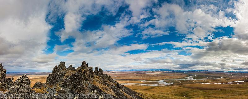 Panorama of Etivluk River, Puvakrat Mt., Brooks Range, National Petroleum Reserve, Alaska.
