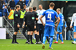 11.05.2019, PreZero Dual Arena, Sinsheim, GER, 1. FBL, TSG 1899 Hoffenheim vs. SV Werder Bremen, <br /> <br /> DFL REGULATIONS PROHIBIT ANY USE OF PHOTOGRAPHS AS IMAGE SEQUENCES AND/OR QUASI-VIDEO.<br /> <br /> im Bild: Pellegrino Matarazzo (Co-Trainer TSG Hoffenheim) bei Schiedsrichter Bastian Dankert<br /> <br /> Foto &copy; nordphoto / Fabisch