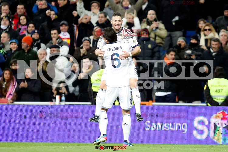 Real Madrid vs Valencia during Spanish King's Cup match, in the pic: Karim Benzema and Sami Khedira. January 15, 2013. (ALTERPHOTOS/Caro Marin)