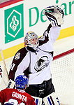 15 October 2009: Colorado Avalanche goaltender goaltender Craig Anderson signals the end of the game against the Montreal Canadiens at the Bell Centre in Montreal, Quebec, Canada. The Avalanche edged out the Habs 3-2 in Montreal's season home opener. Mandatory Credit: Ed Wolfstein Photo