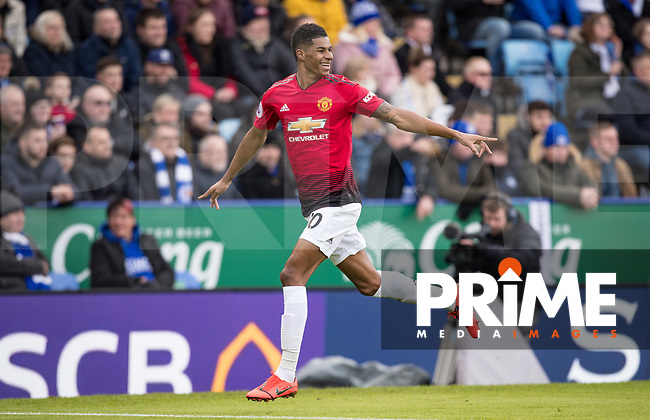Marcus Rashford of Man Utd celebrates his winning goal during the Premier League match between Leicester City and Manchester United at the King Power Stadium, Leicester, England on 3 February 2019. Photo by Andy Rowland.