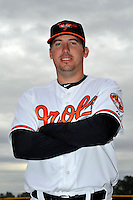 Feb 27, 2010; Tampa, FL, USA; Baltimore Orioles  infielder Garrett Atkins (25) during  photoday at Ed Smith Stadium. Mandatory Credit: Tomasso De Rosa