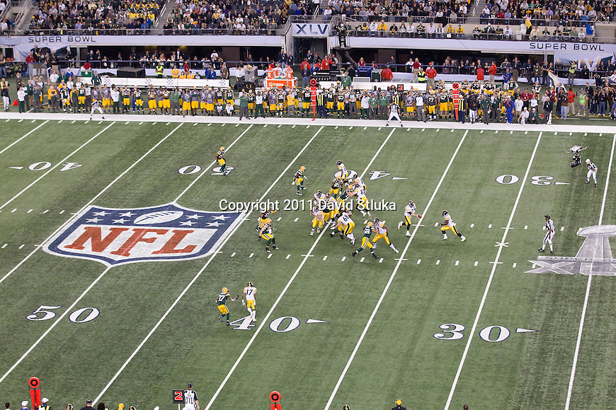 An overhead view of Cowboys Stadium during the Green Bay Packers Super Bowl XLV football game against the Pittsburgh Steelers on Sunday, February 6, 2011, in Arlington, Texas. The Packers won 31-25. (AP Photo/David Stluka)