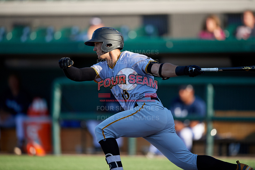 Bradenton Marauders third baseman Hunter Owen (13) follows through on a swing during the first game of a doubleheader against the Lakeland Flying Tigers on April 11, 2018 at Publix Field at Joker Marchant Stadium in Lakeland, Florida.  Lakeland defeated Bradenton 5-4.  (Mike Janes/Four Seam Images)