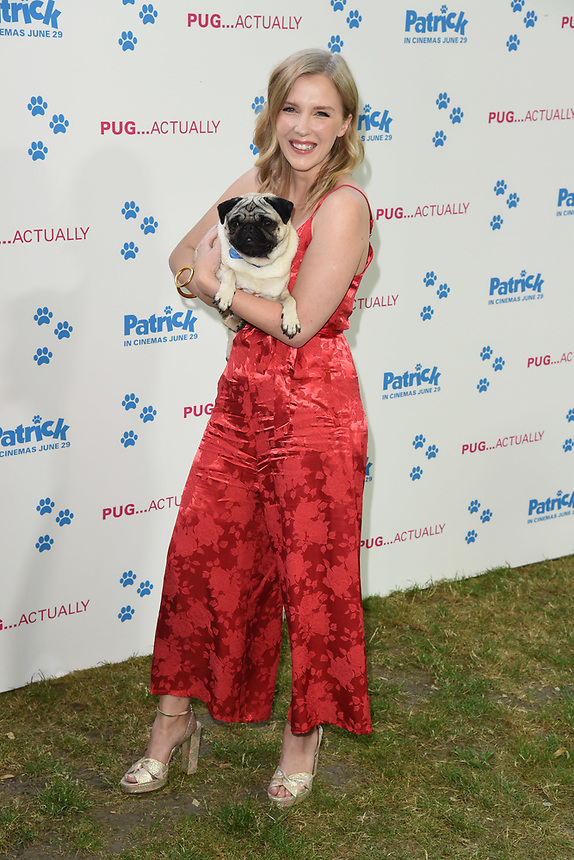 "Harley the dog (Patrick) and Beattie Edmondson<br /> arriving for the ""Patrick"" UK premiere, London<br /> <br /> ©Ash Knotek  D3411  27/06/2018"