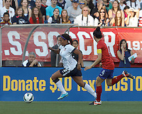 USWNT forward Sydney Leroux (2) on the attack.  In an international friendly, the U.S. Women's National Team (USWNT) (white/blue) defeated Korea Republic (South Korea) (red/blue), 4-1, at Gillette Stadium on June 15, 2013.